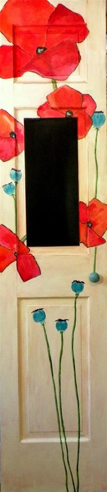 """POPPY CHALKBOARD DOOR ORIGINAL ACRYLIC ON 3 PANEL SOLID WOOD DOOR © SAUNDRA LANE GALLOWAY"" original fine art by Saundra Lane Galloway"