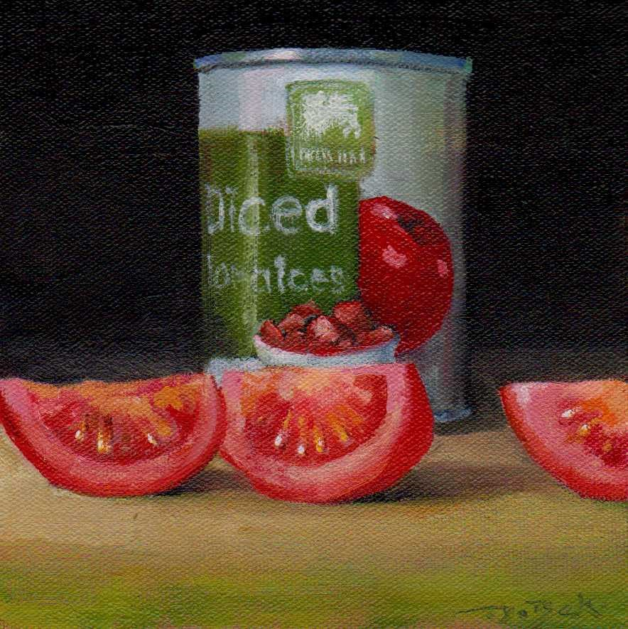 """diced tomatoes"" original fine art by Vova DeBak"