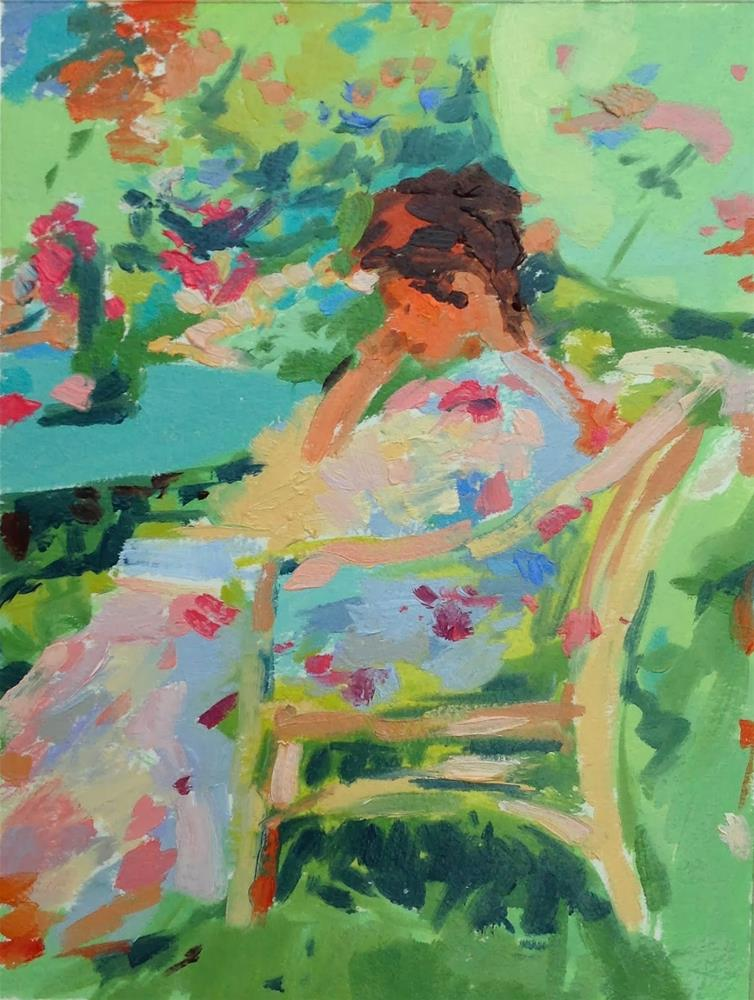 """Reading in the garden after Miller"" original fine art by Haidee-Jo Summers ROI"