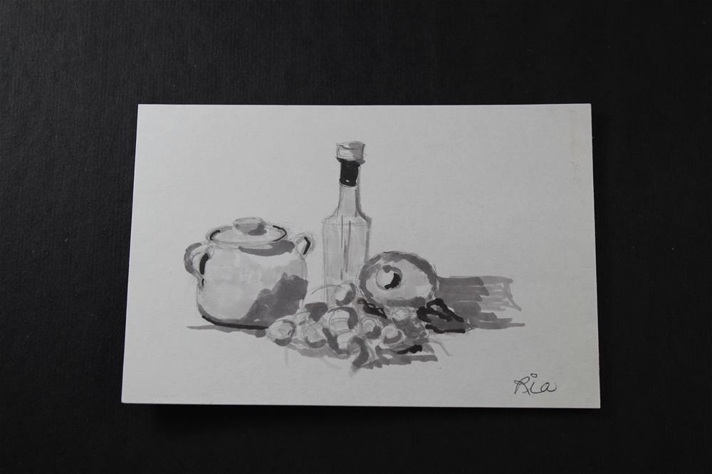 """""""La Cucina, sketch"""" original fine art by Maria Reed"""