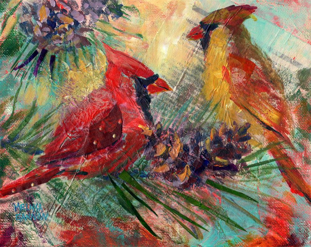 """Cardinals"" original fine art by Melissa Gannon"