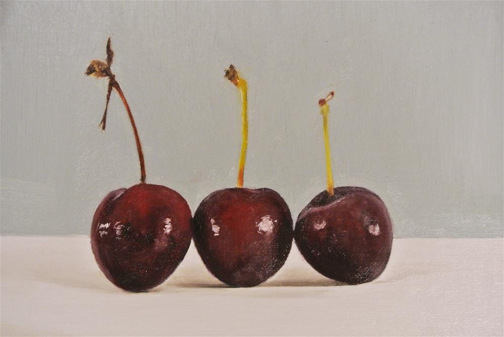 """Three Cherries"" original fine art by James Coates"