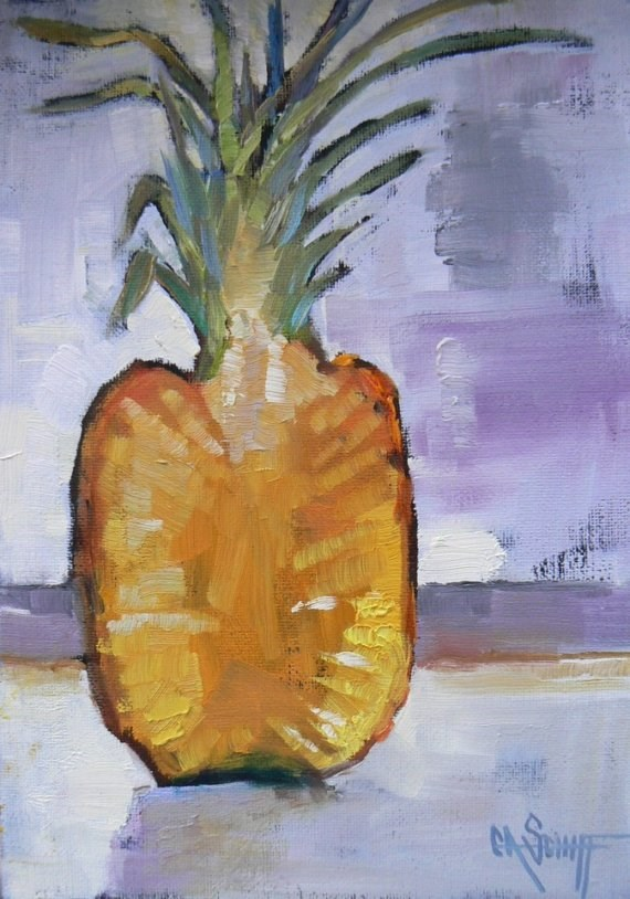 """Art Sale, Daily Painting, Pineapple with Attitude by Carol Schiff, 5x7 Oil"" original fine art by Carol Schiff"