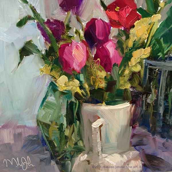 """Day 4 of 30 paintings in 30 days -Tabletop Garden"" original fine art by Melissa Jander"