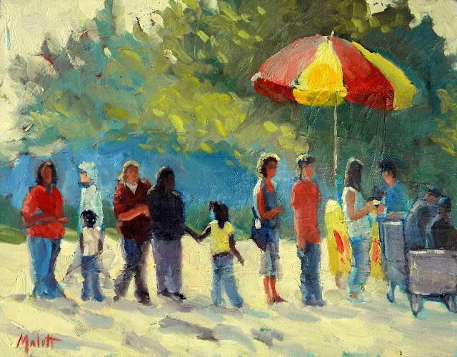 """Ice Cream in the park 11x14"""" original fine art by Heidi Malott"""