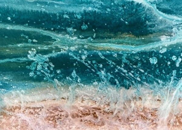 """Ocean, Abstract Seascape Painting, Beach, Coastal Art BEACH BASH SALE #43 Caribbean Splash by Int"" original fine art by Kimberly Conrad"