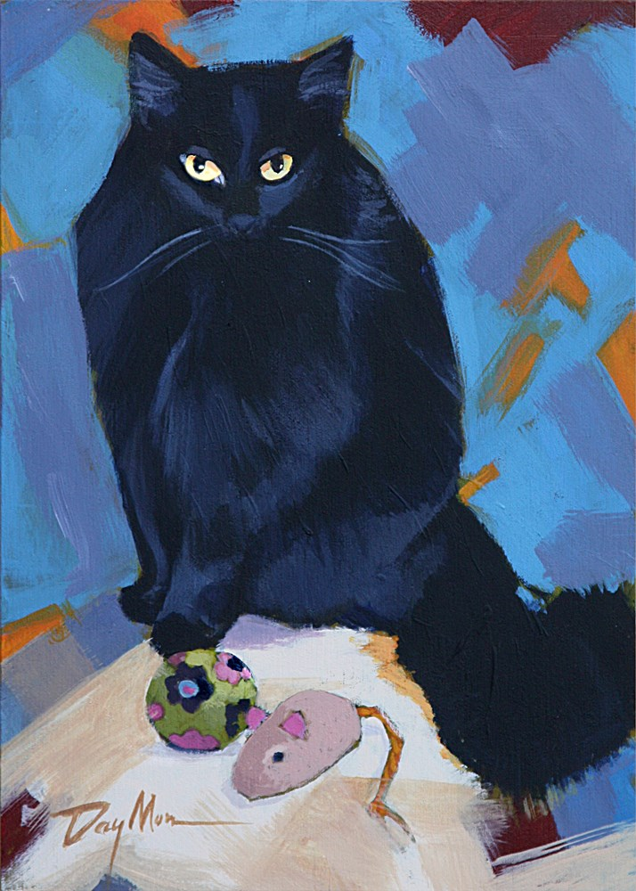 """Kitty with Two Toys"" original fine art by Mike Daymon"