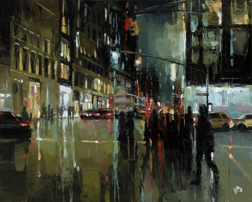 """Broadway & Houston -II"" original fine art by Victor Bauer"