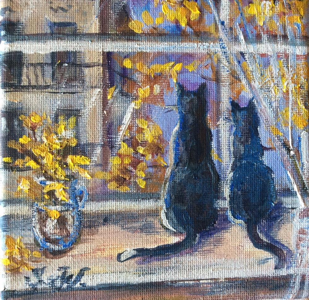 """Meow,it is raining again!"" original fine art by Sonia von Walter"