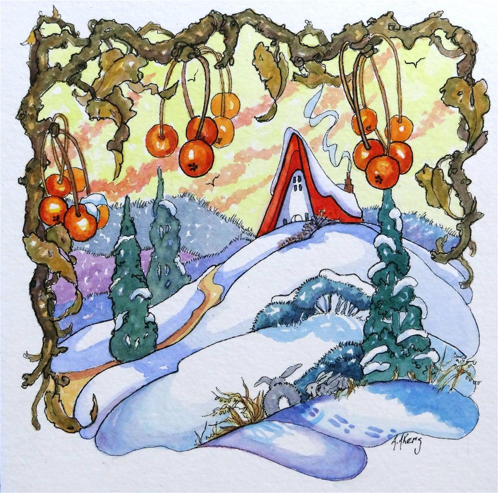 """Winter Fruit Storybook Cottage Series"" original fine art by Alida Akers"