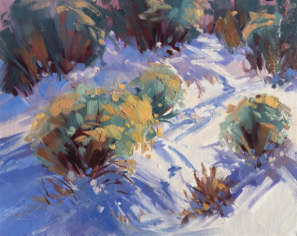 """Trails in the Snow"" original fine art by Mary Jabens"