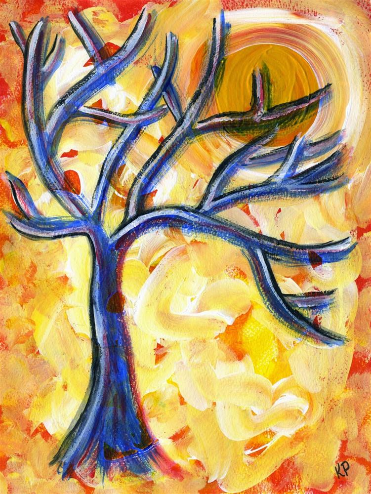 """Blue Tree"" original fine art by Kali Parsons"