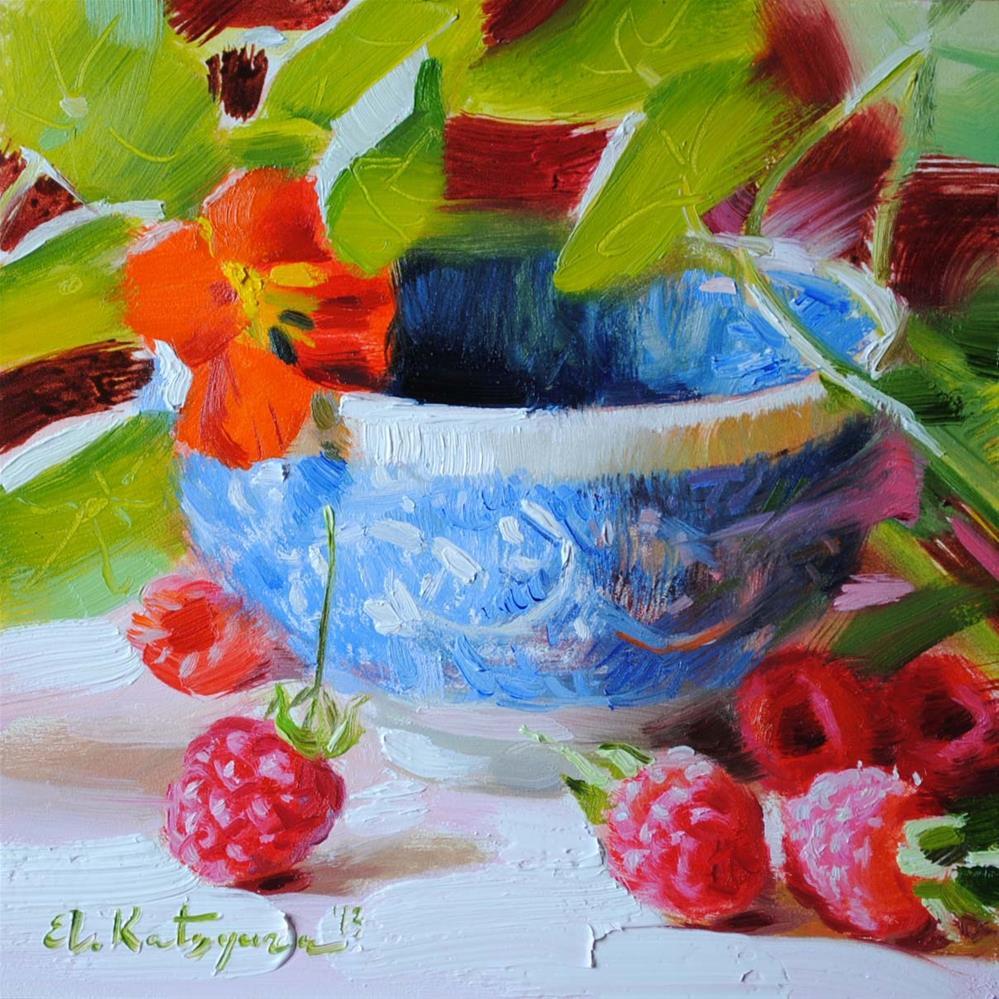 """""""Nasturtium and Raspberries"""" original fine art by Elena Katsyura"""