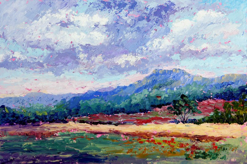 """Threatening Skies over Provence Palette knife painting"" original fine art by Marion Hedger"