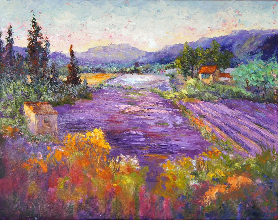 """Wonderful Lavender Provence palette knife painting"" original fine art by Marion Hedger"