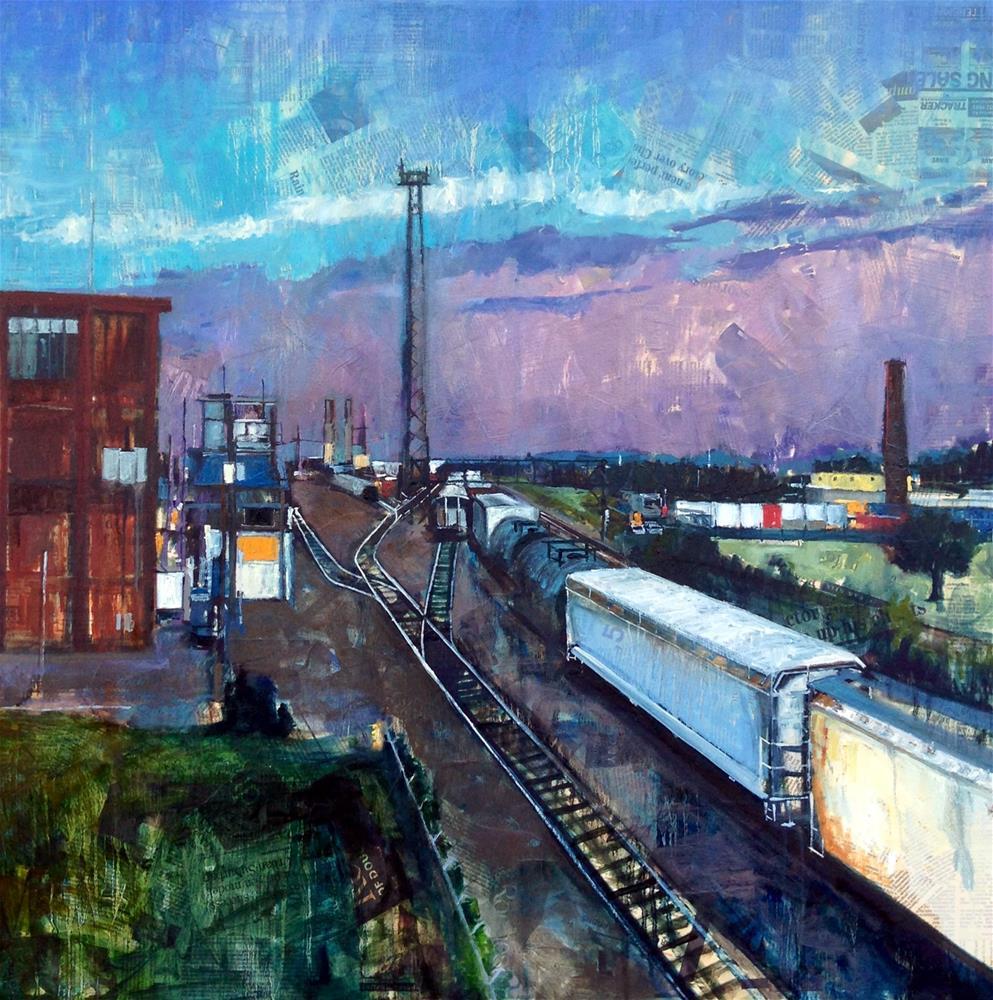 """Train Yard"" original fine art by Teresa Haag"