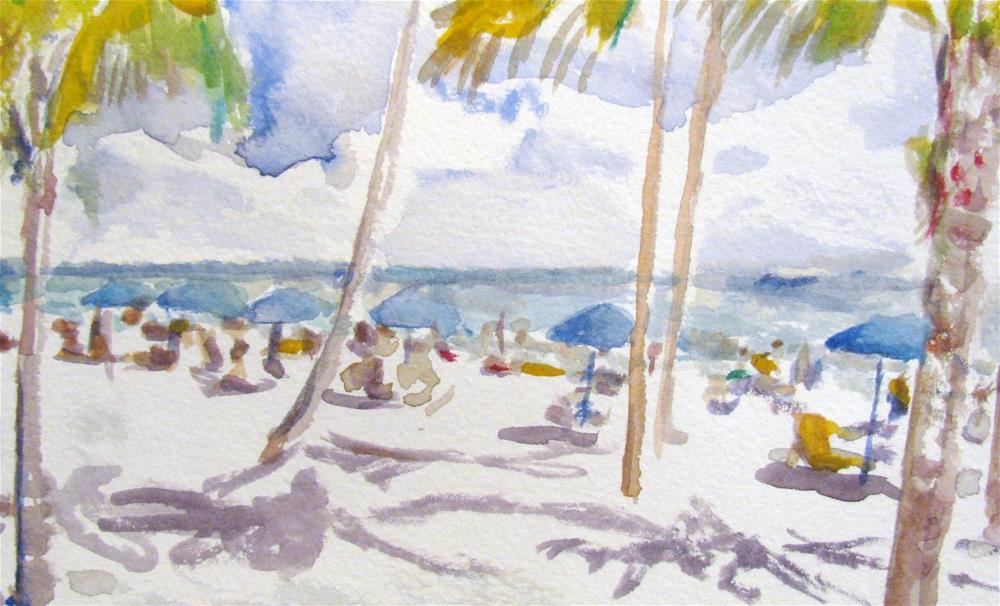 """Beach Umbrellas"" original fine art by Susan Elizabeth Jones"