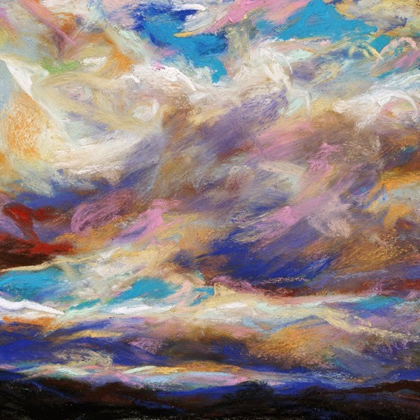 """SOLD- SHADES + LAYERS and ORANGE GLIMMER - pastel skyscapes by Susan Roden"" original fine art by Susan Roden"