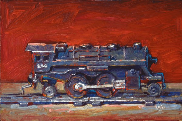 """Scott's Lionel Train Engine"" original fine art by Raymond Logan"