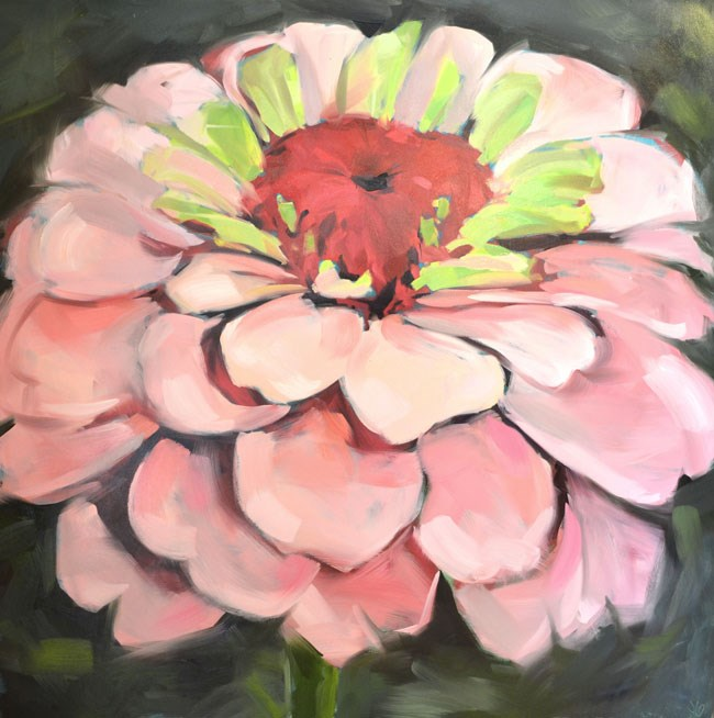 """Zinnia Glory"" original fine art by Jessica Green"