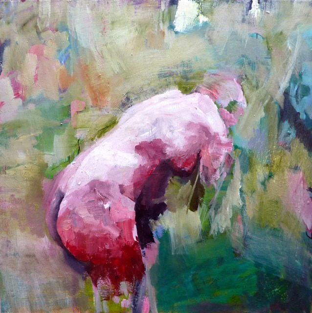 """Akt im Grünem / nude in green"" original fine art by Mila Plaickner"