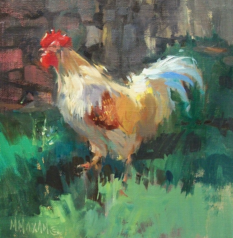 """Making The Rounds- a rooster in the farm yard"" original fine art by Mary Maxam"