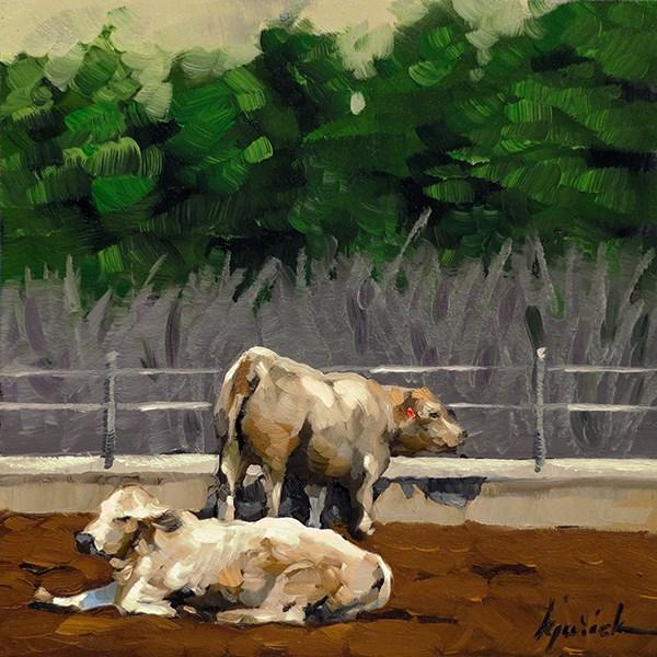 """Lincoln Highway/Cattle, Nebraska"" original fine art by Karin Jurick"