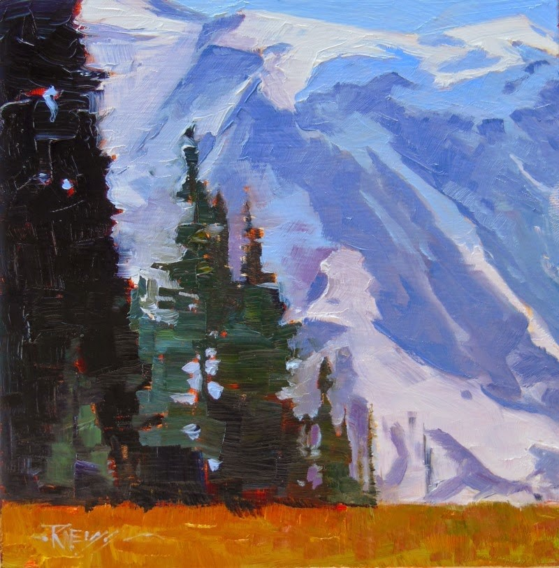"""Grand Park Mt Rainier National Park, oil, landscape painting by Robin Weiss in the Randy Higbee 6"" original fine art by Robin Weiss"
