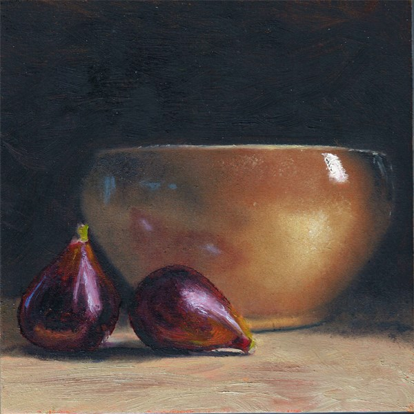 """Figs with earthenware bowl"" original fine art by Peter J Sandford"