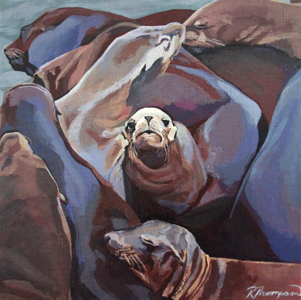 """Sea Lions"" original fine art by Rachel Thompson"