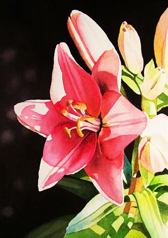 """""""Sunlit Lily"""" original fine art by Jacqueline Gnott, TWSA, WHS"""