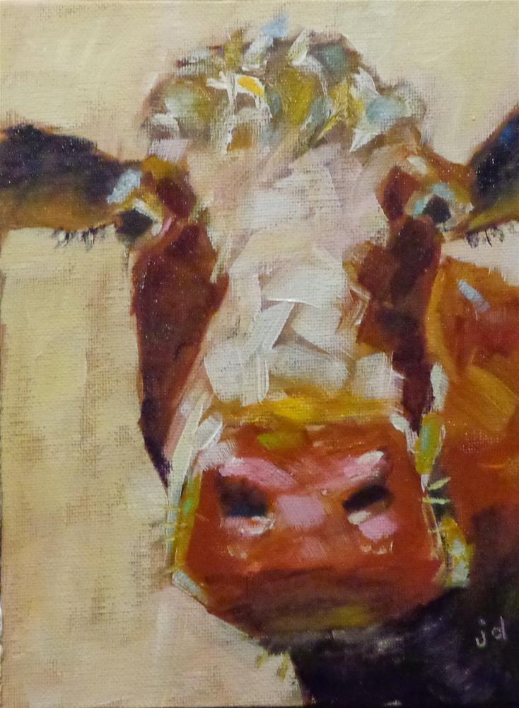 """Cow 12"" original fine art by Jean Delaney"