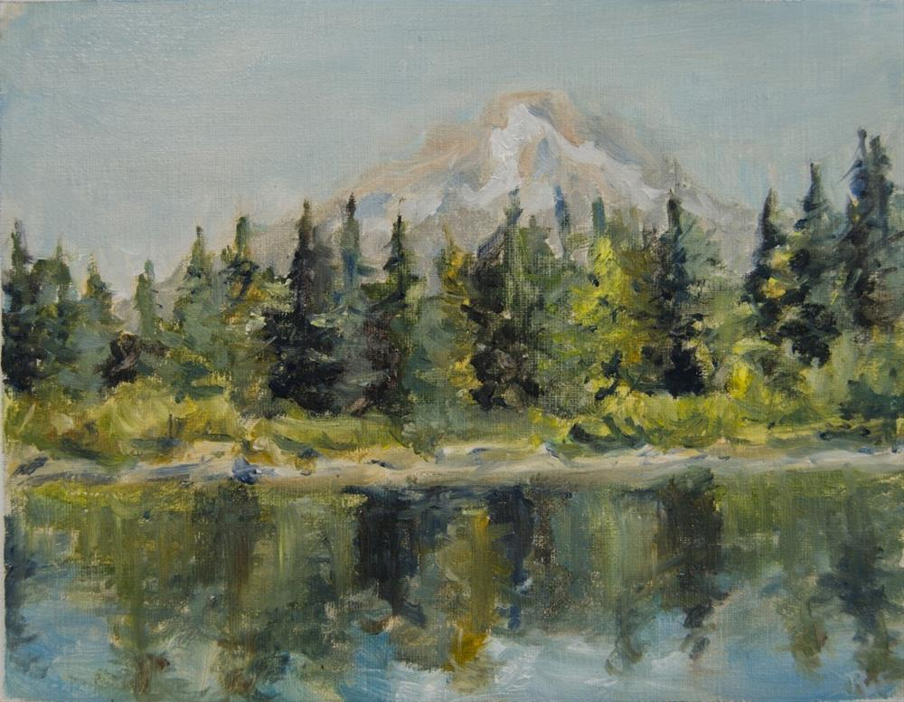 """Mirror Lake and Mt. Hood in the Midday"" original fine art by Rachel Steely"