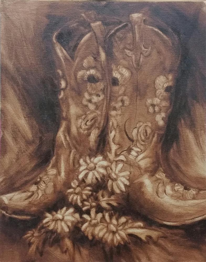"""Boots and Daisy-study"" original fine art by Veronica Brown"