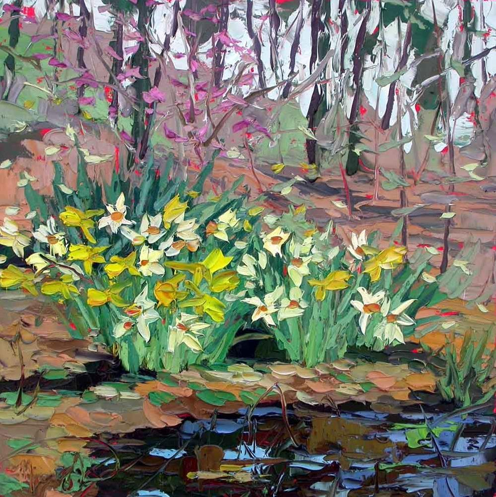 """032916 S 12x12 Daffodils by the Pool"" original fine art by Charlene Marsh"