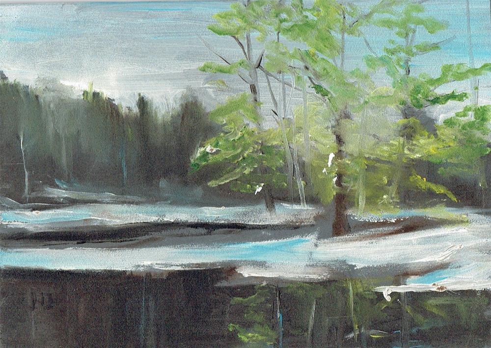 """The Iced Lake (5 x 7 oil on wooden board - no frame)"" original fine art by Ramon DelRosario"