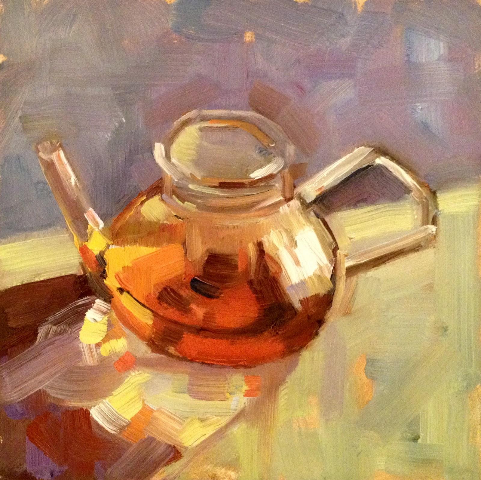 """""""Breakfast T, 6x6"""" original fine art by Ann Feldman"""