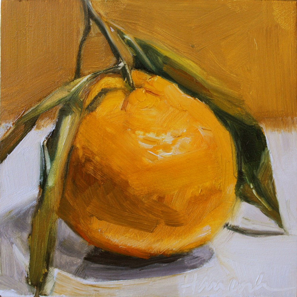 """Tangerine on Gold"" original fine art by Gretchen Hancock"
