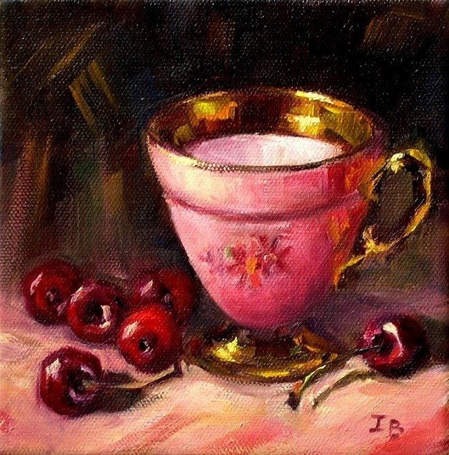 """Cherry Night"" original fine art by Irina Beskina"