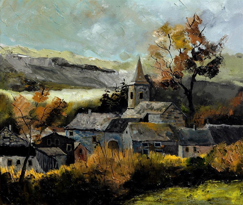 """Village Ardenne Houffalize"" original fine art by Pol Ledent"