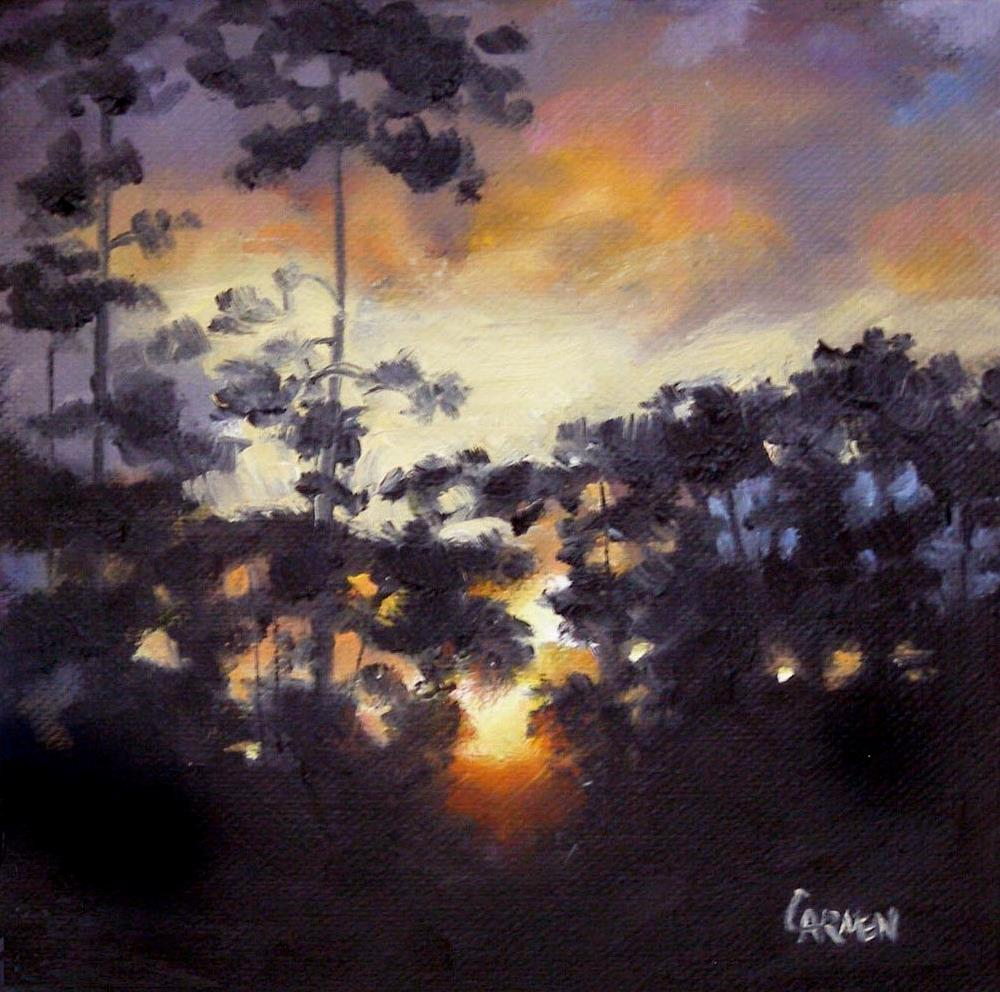 """Everglades Sunrise, 6x6 Oil on Canvas Panel"" original fine art by Carmen Beecher"