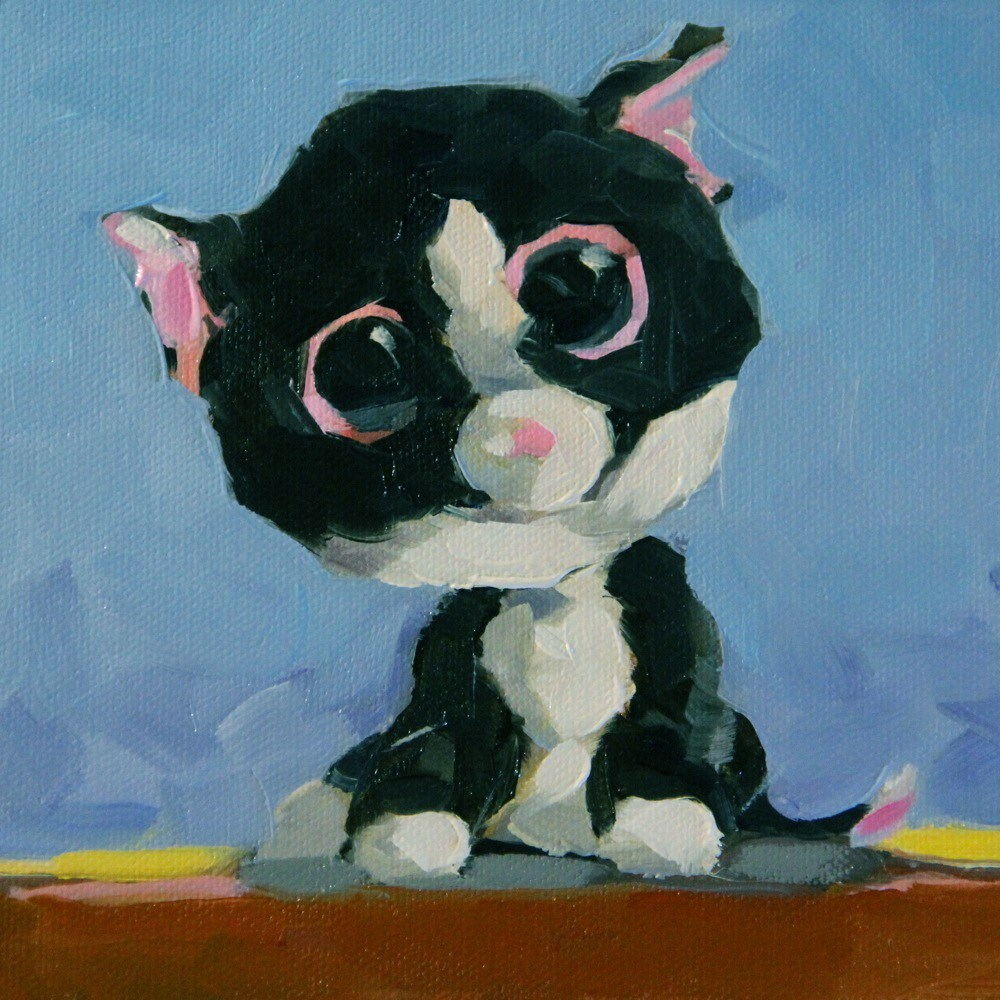 """Kitty Toy 2"" original fine art by C J Roughton"