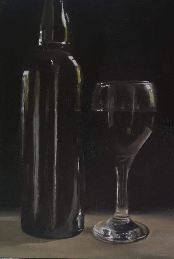 """Red Wine Glass and Bottle"" original fine art by James Coates"
