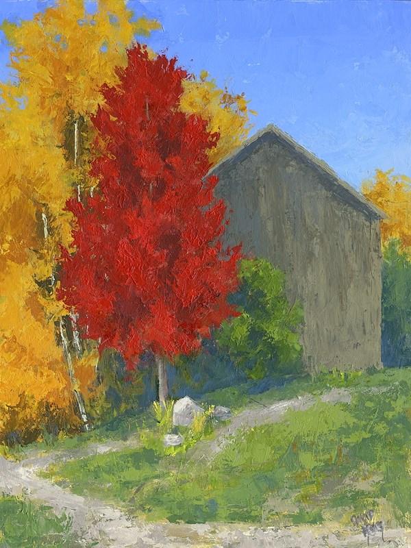"""Autumn Barn"" original fine art by David King"
