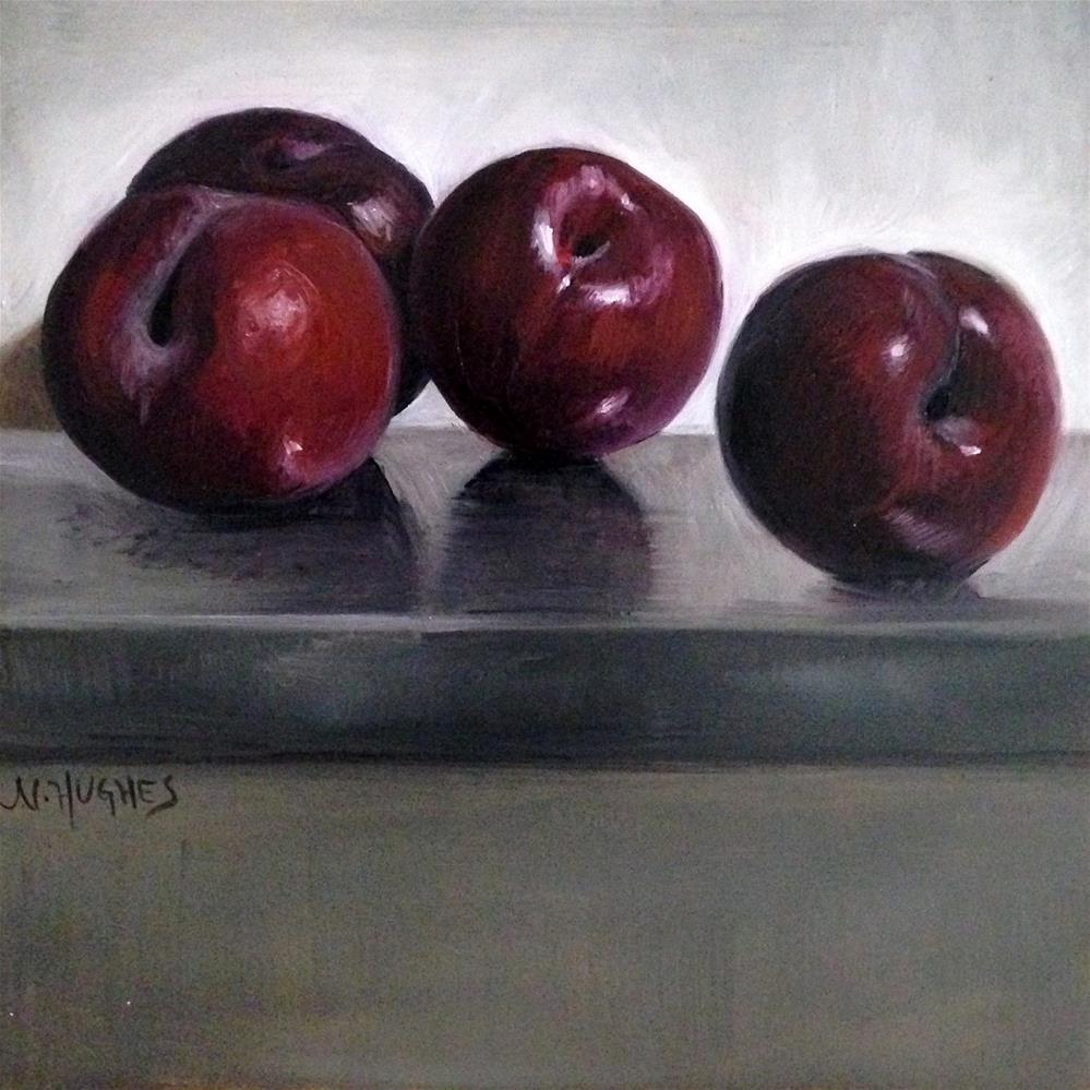 """""""Four Red Plums"""" original fine art by Naomi Hughes"""