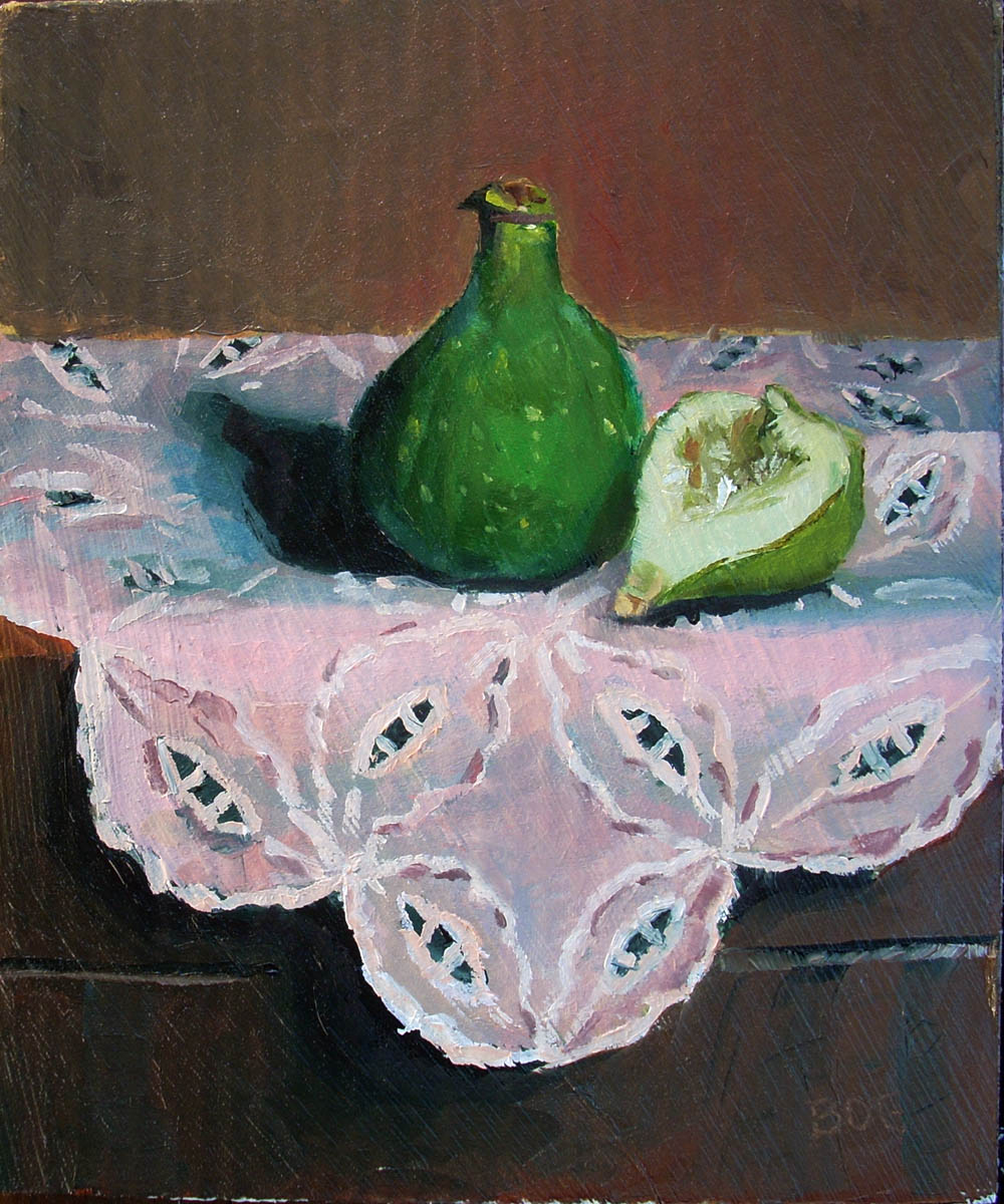 """Figs and a Blanket"" original fine art by Karen Boe"