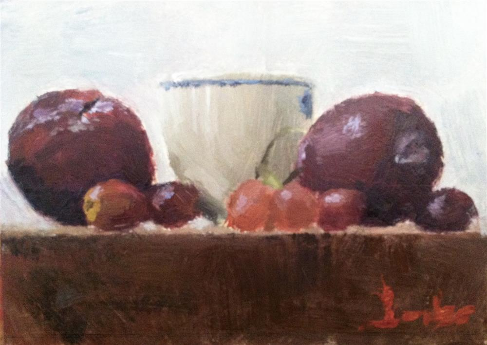 """Still Life with Plums"" original fine art by Richard Jones"