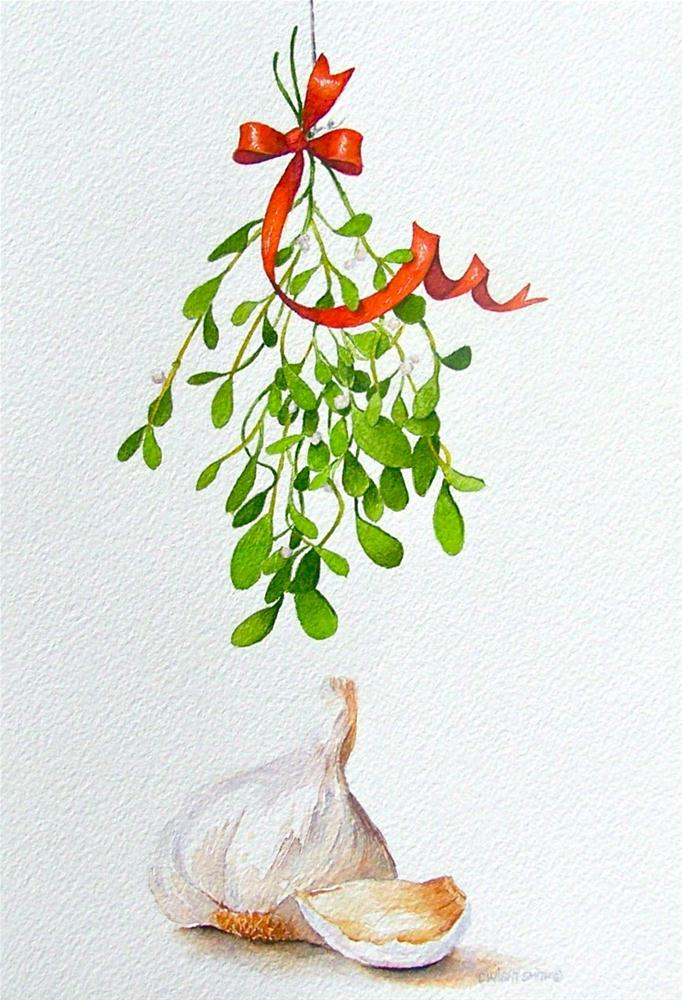 """ A MISTLETOE MOMENT "" original fine art by Dwight Smith"
