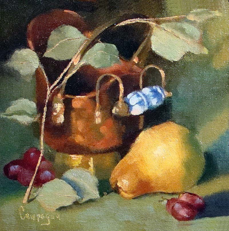 """Copper Pot, Eucalytus and Pear"" original fine art by Roseanne Campagna"