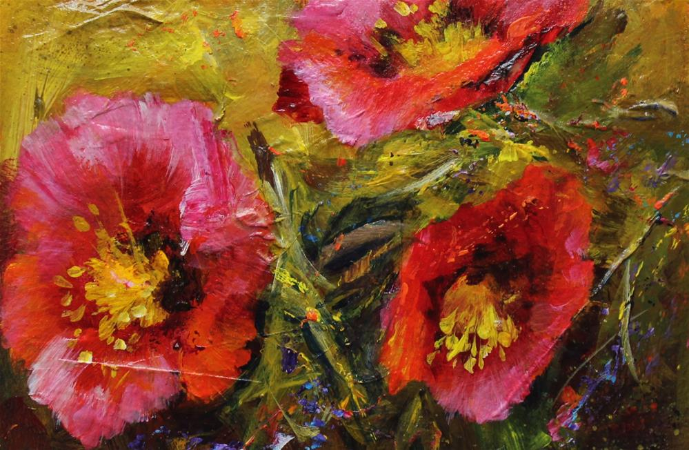 """Original acrylic poppy flower floral landscape garden painting"" original fine art by Alice Harpel"